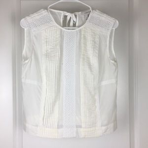 J. Crew White Lace Front Top